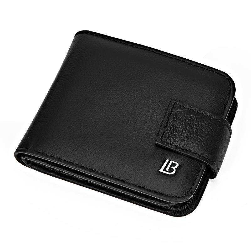 BOSTANTEN Men's Genuine Cowhide Leather Bifold Wallets Multifunction Buckle Coin Purse For Men
