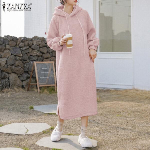 Phong Cách Hàn Quốc Choàng Có Mũ ZANZEA Cho Nữ, Lông Cừu Ấm Áp Chui Đầu, Kiểu Dáng Sang Trọng, Mặc Vào Mùa Đông