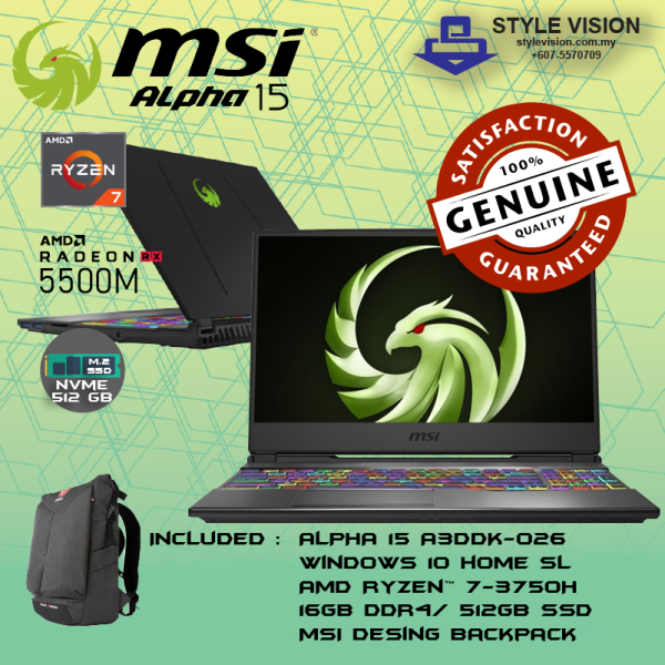 MSI ALPHA 15 A3DDK-026 ( R7-3750H | 512GB SSD | 16GB DDR4 | RX5500M-4GB GDDR6 | NO ODD | W10 | 15.6FHD | PER KEY RGB COLOR Malaysia