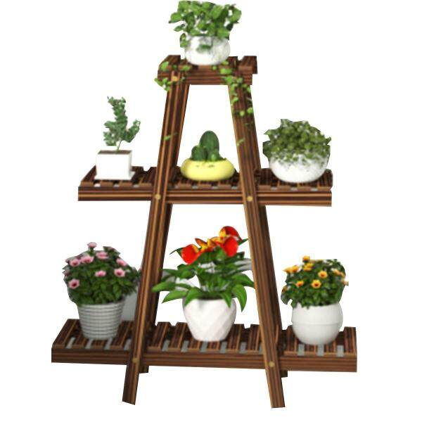 6 Layer Windmill Wood Pots Plant Stand Flower Shelf Rack Outdoor Garden Display