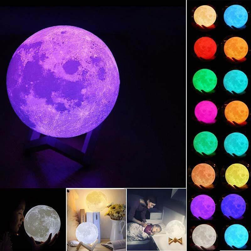 Bảng giá Techtopest-16 Đổi Màu 3D In Hình Mặt Trăng Đèn Sạc USB ĐÈN LED Ban Đêm có Điều Khiển từ xa Phong Vũ