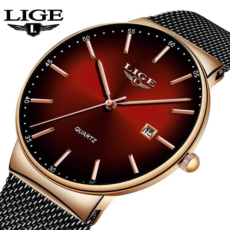 LIGE Fashion Casual men Watches Simple Waterproof Mesh Analog Quartz Auto Date, Luminous Jam Tangan Lelaki Malaysia