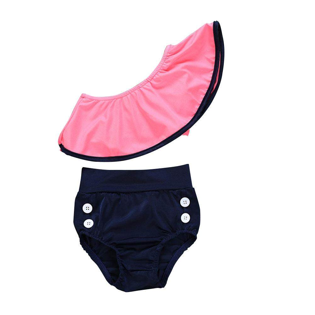 Giá bán HuaX 2 Pcs/set Baby Baby Girl Ruffle Off Shoulder Swimsuit Set Children Clothing