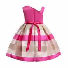 Gấu Lãnh Đạo Cô Gái Váy Cô Gái Mới Hoa Ngọc Trai Đảng Váy Cộc Tay Dây Đeo Công Chúa Váy Nơ Một Bên Vai Tiệc Tùng Trẻ Em Với Chân Váy Công Chúa Sọc Trong 3-8 Tuổi