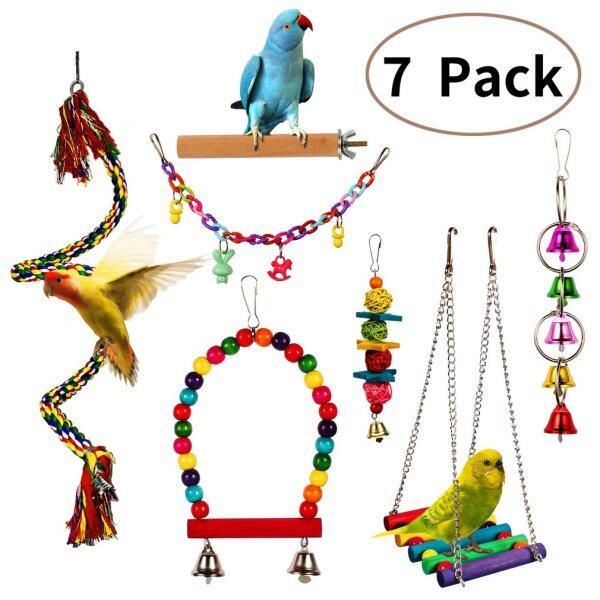7 Món Đồ Chơi Chim Vẹt Parakeet, Phụ Kiện Thú Cưng Chuông Treo, Thang Đồ Chơi Lắc Lắc Lắc Leo Núi Bóng Nhai Cắn
