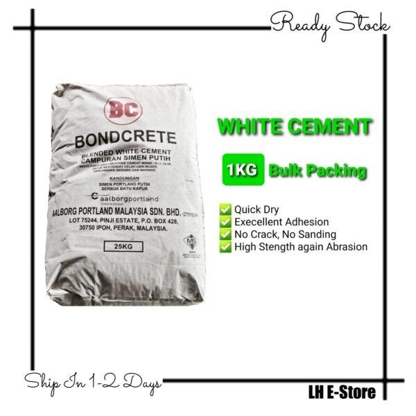 1KG Boncrete White Cement Simen Putih Kilo for Tiles Filler Grout Jubin