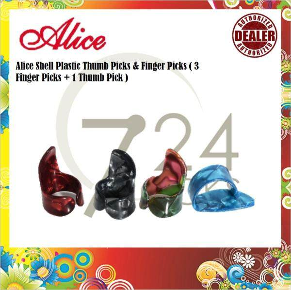 724 ROCKS Alice Shell Plastic Thumb Picks & Finger Picks - 4 piece Random Color ( 3 Finger Picks + 1 Thumb Pick ) Malaysia