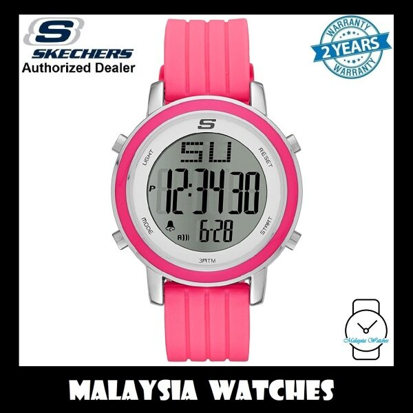(OFFICIAL WARRANTY) Skechers SR6013 Womens Westport Digital Steel Case Pink Silicone Strap Watch (2 Years Warranty) Malaysia
