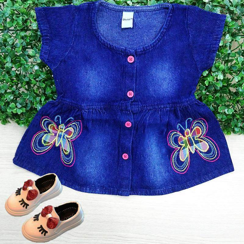 bbb551e370c New Fashion 2019 Toddler Baby Girls Jeans Dress Summer New Fashion Casual Butterfly  Girl Dress O