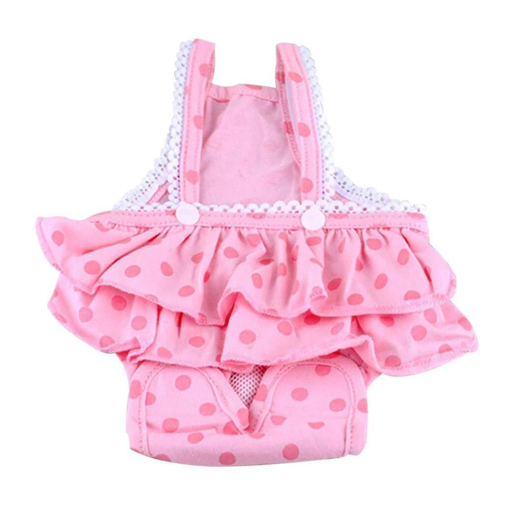 Chó Tã Có Thể Giặt Có Thể Tái Sử Dụng Vệ Sinh Pantie Đầm Chó Bông Tã với Suspender cho Nữ Chó L - 1