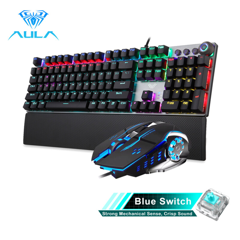 YFD AULA Mechanical Gaming keyboard and mouse Combo Black/Blue Switch for PC Laptop Game(F2088+S20) Singapore