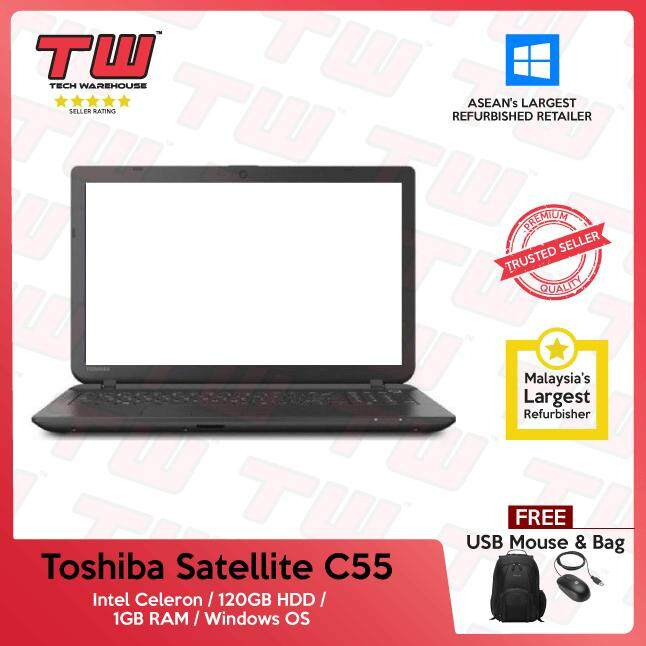 Toshiba Satellite C55 Core Celeron / 1GB RAM / 120GB HDD / Windows OS Laptop / 3 Months Warranty (Factory Refurbished) Malaysia