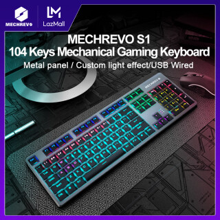 [Local Warranty] MAIBENBEN MECHREVO Gaming Mechanical Keyboard 104 Keys Gaming Blue Red Black Switch Metal Panel Colorful Backlights Wired USB For PC Desktop Computer Laptop Notebook For DOTA2 CSGO GTA5 S1 S2 Free Shipping thumbnail
