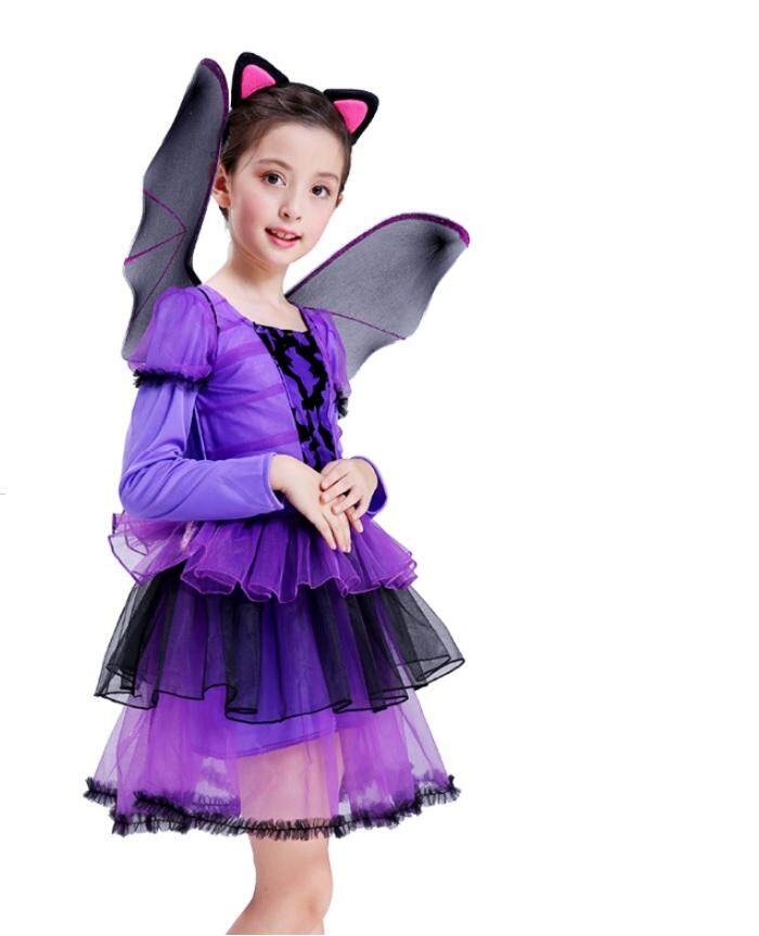 Halloween Purple Bats Costume Fairytale Girls Dress Halloween Dress For Children toys for girls