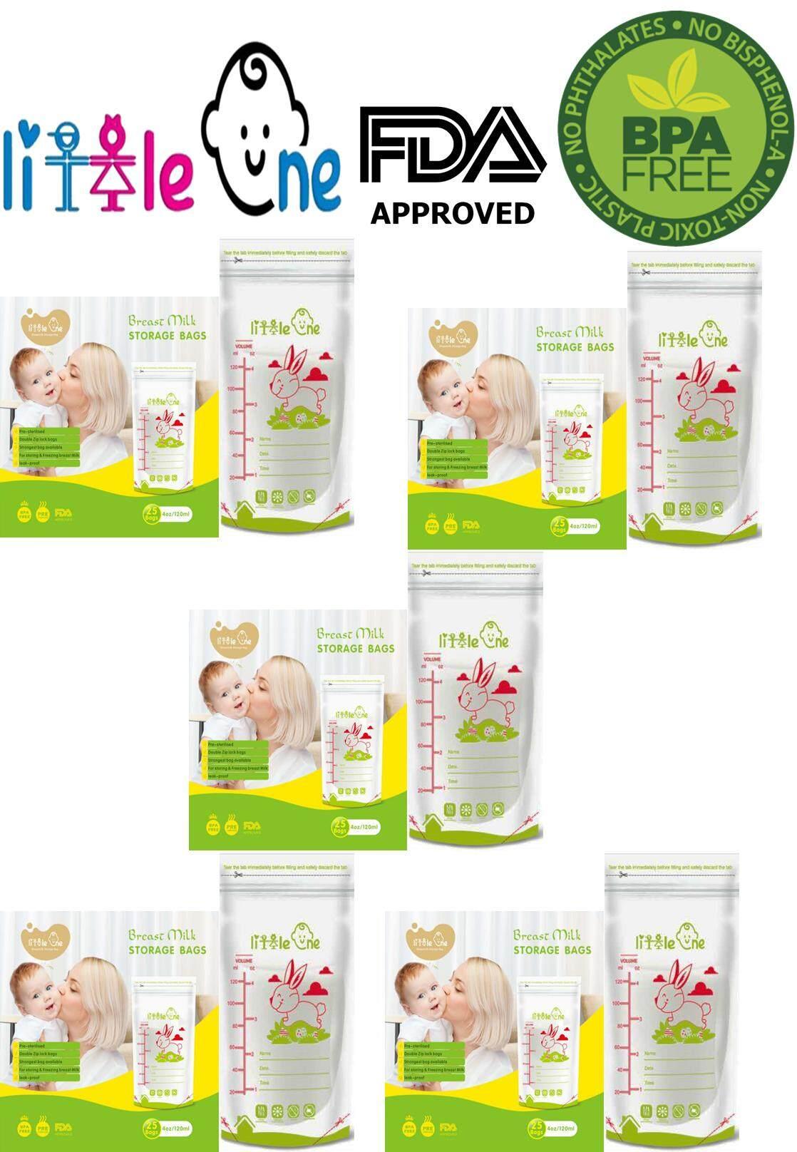 5 X Little One Double Ziplock Breast Milk Storage Bag 4oz/5oz/7oz Best Seller! By Littleonebaby.