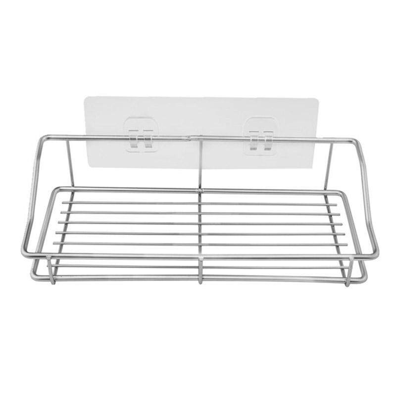 Bathroom Shelf Organizer Storage Kitchen Rack With Traceless Transparent Adhesive No Drilling Stainless Steel By Ralleya.