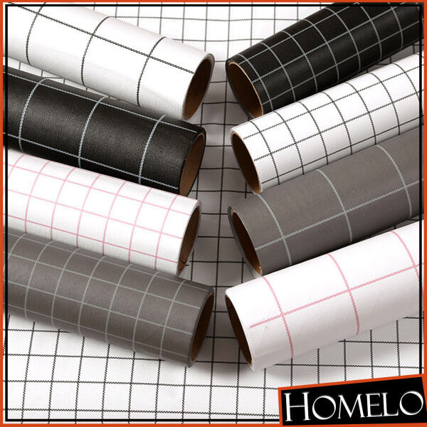 HOMELO 60cm x 100cm Modern Grid Solid Wall Furniture Stickers Removable self-adhesive Wallpaper Bedroom TV Background Wall Room Decor