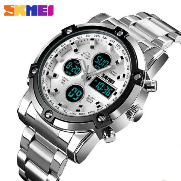 SKMEI Mens Quartz Watch Luxury Sport Digital Wristwatch Waterproof Stainless Steel Male Watches Clock Relogio Masculino 1389 Malaysia