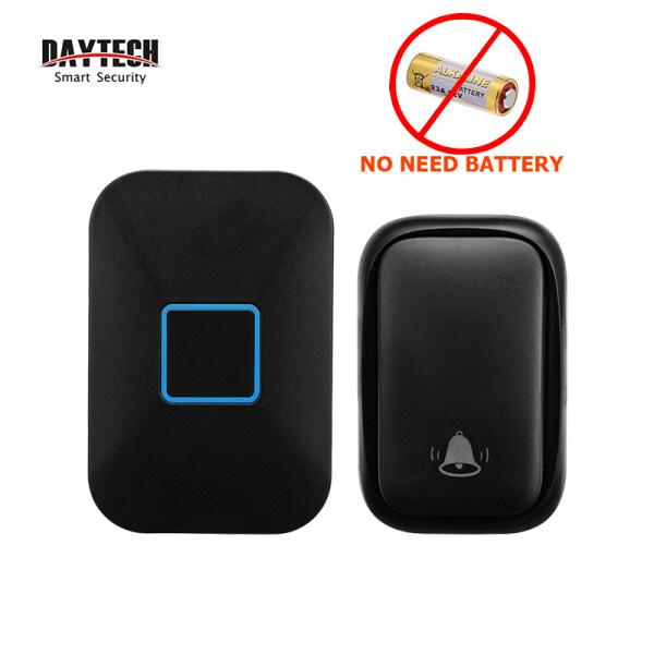 DAYTECH Self Power Doorbell Door Bell Wireless Waterproof No Battery Loceng Rumah 60 Tones 5 Volumes 150M Range Calling Bell For House/Home/Office/Elderly/Patient 1 Receiver With 1 Bell UK PLUG DB09