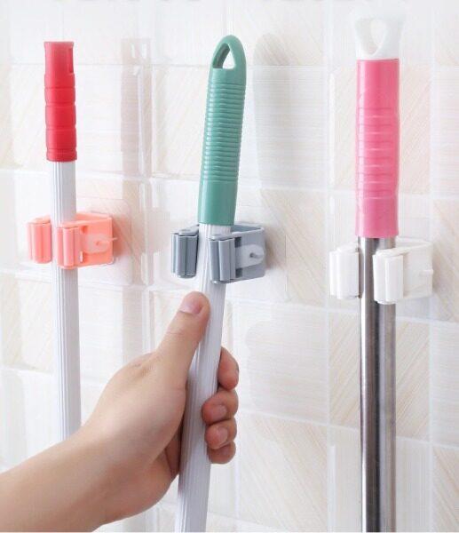 [READY STOCK] Adhesive Wall Mount Organizer Hook Broom Holder Mop Holder Brush Holder Kitchen Bathroom Organizer