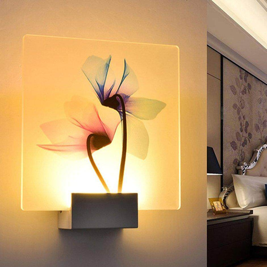 Best Sales Simple LED Wall Lamp Transparent Flower Printed Hotel Light