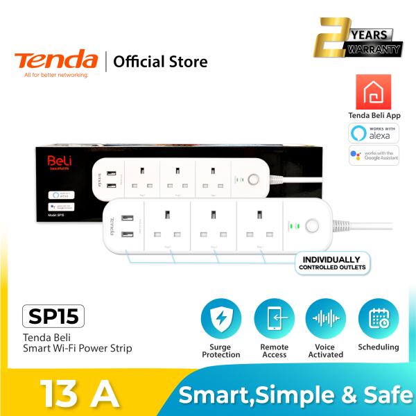 Tenda Beli SP15- Smart Wi-Fi Power Strip, smart switches, smart outlets with independent Outlets and USB ports control