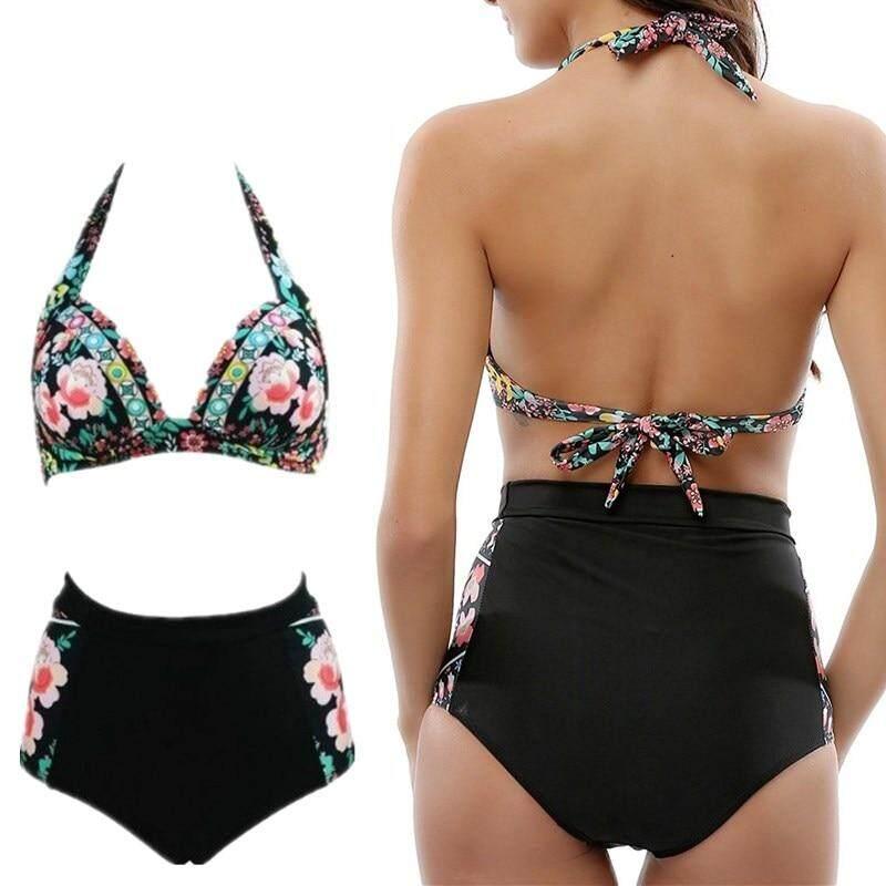 3580559f83208 NINGMI Girls Swimsuit Women Swimwear Bikini High Waist Bottom Panties Print  Beach Swimming Suits