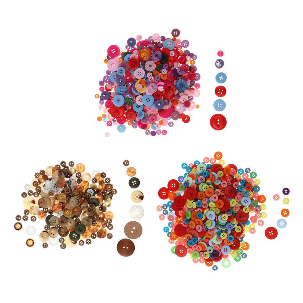 Perfk 3 Sets Mixed Color Round Buttons Craft Buttons Sewing Button Puzzle Button