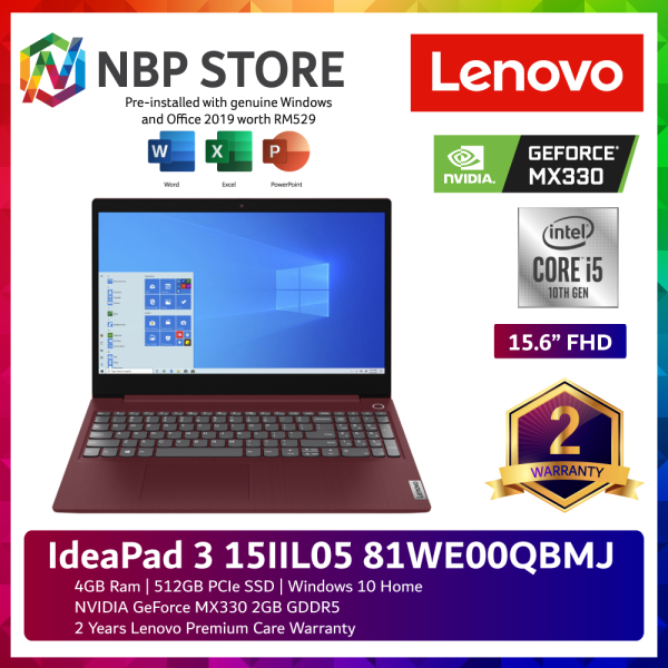 Lenovo IdeaPad 3 15IIL05 81WE00QBMJ 15.6 FHD Laptop Cherry Red ( i5-1035G1, 4GB, 512GB SSD, MX330 2GB, W10, HS ) Malaysia
