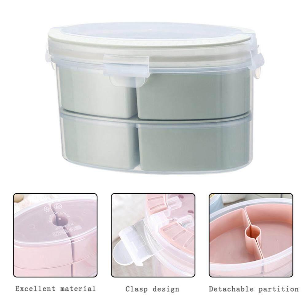 efuture A set (5 pieces) oval combination lock fresh storage box, portable lunch box home fresh plastic food storage box 21*13.7*14cm