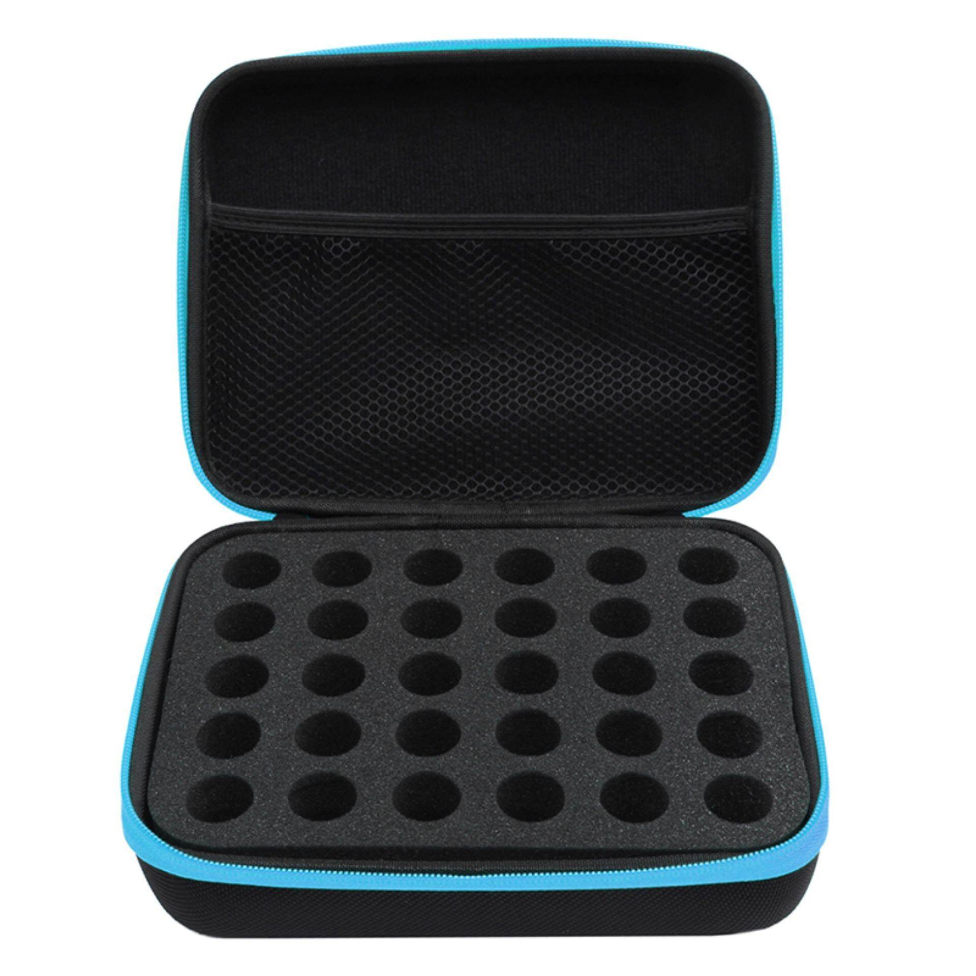 30 Bottles Essential Oil Carry Case 10ml Holder Storage Aromatherapy Hand Bag Blue Warm By Warm Light.