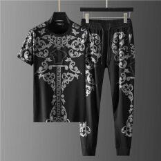 Bộ đồ hai mảnh thời trang cho nam, bộ đồ thường ngày mới ghép nối cá tính cỡ lớn mặc mùa hè