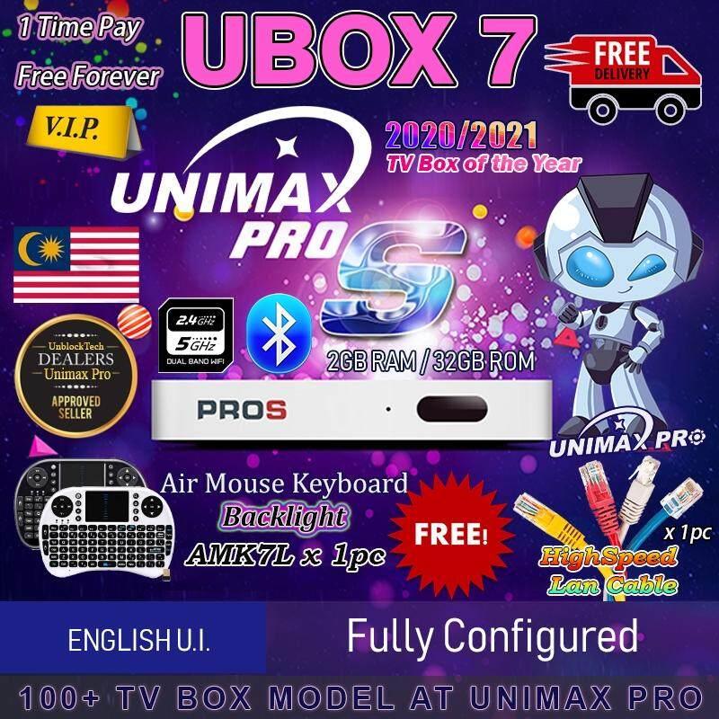 (Unimax Pro) New 2020/21 - Unblocktech Ubox Gen7 English / Chinese U I   PROS OS Octa Core GPU 2GB RAM 32GB ROM Android 7 H6 Quad Core 64Bit CPU  Dual