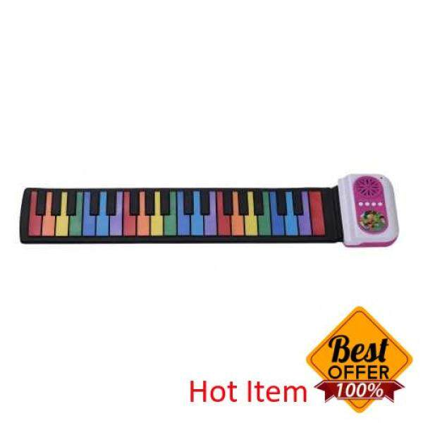 37-Key Portable Roll-Up Piano Silicon Electronic Keyboard Colorful Keys Built-in Speaker Musical Toy for Children Kids (Pink) Malaysia
