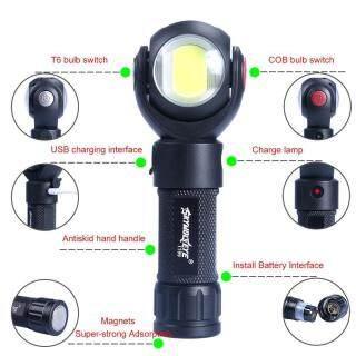 Đèn Pin Xoay Thực Tế T6 + Đèn Pin LED LED Đuôi Sạc USB Có Nam Châm thumbnail