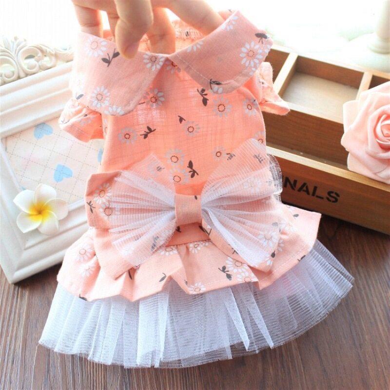 DY Loving Thoáng Khí Mùa Hè Váy Cho Chó Ruffle Graze Đầm Công Chúa Với Váy Hoa Cotton Cho Chó Nữ