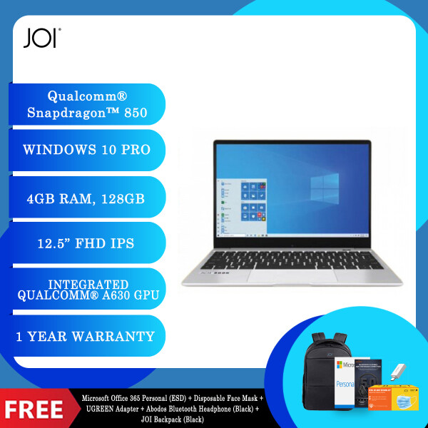 """JOI Book SK3000 (Qualcomm SDM850,Kryo385,4GB,128GB SSD,12.5"""",W10Pro,LTE) + Microsoft Office 365 Personal (ESD) + Disposable 3 Layer Face Mask + UGREEN Adapter + Abodos Bluetooth Headphone Black + JOI Backpack [Choose Color] Malaysia"""