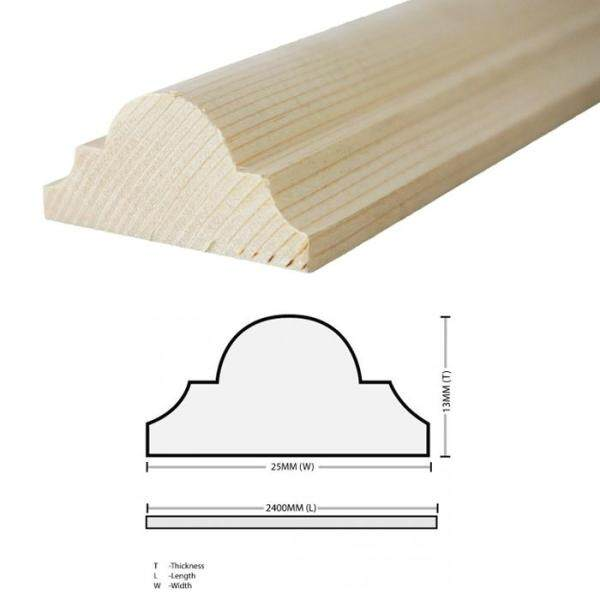 Pine Wood Timber DS10 Moulding Decorative Wainscoating 13MM T x 25MM W x 2400MM L