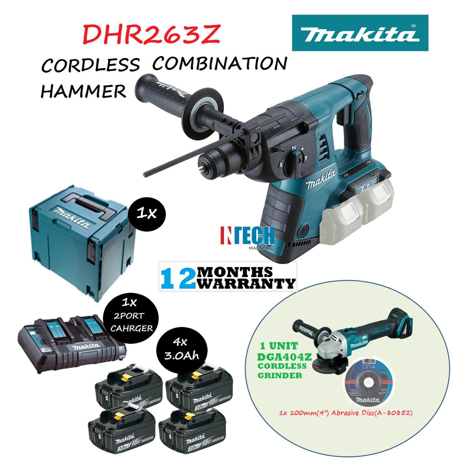 MAKITA DHR263Z CORDLESS COMBINATION HAMMER C/W 4x3.0AH BATTERY+1x2PORT MULTI FAST CHARGER+MAKPAC CONNECTOR CASE