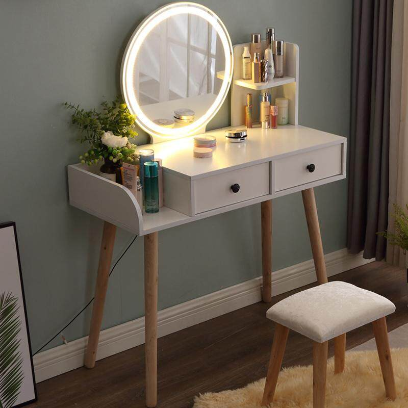 90x40x75m, One-piece Dressing Table with LED Light, Solid Wood European Bedroom Dresser Table with Stool, Big HD Mirror, 2 Drawers and Shelf, Princess Makeup Cabinet