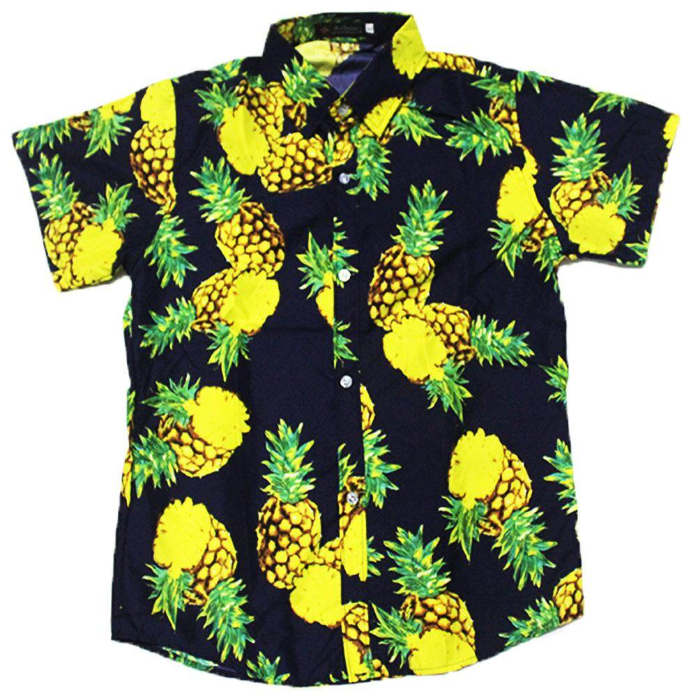 EN Men Women Fashion Summer Hawaiian Style Pineapple Printing Short Sleeve  T-shirt