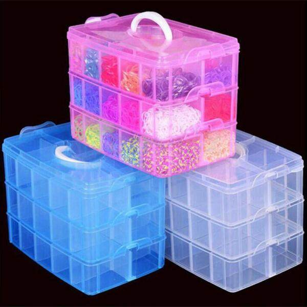 muduan® 3 Layers 18 Compartments Clear Storage Box Container Jewelry Bead Organizer Case