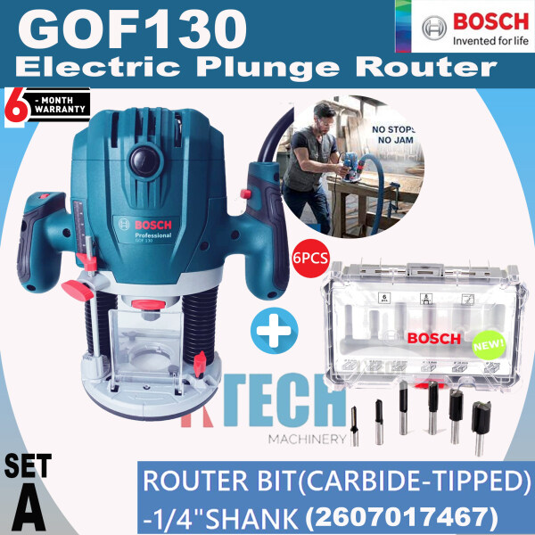 BOSCH GOF130 ELECTRIC PLUNGE ROUTER 1300W (GOF130) C/W  4 DIEFFRENT PACKAGES ACCESSORIES