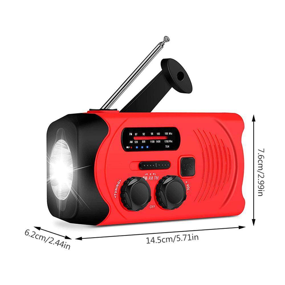 niceEshop Emergency Weather Radio Solar Hand Crank Self Powered TPLISAK AM  FM NOAA Weather Radios with 2000mAh Power Ba nk, Flashlight,SOS Alarm -