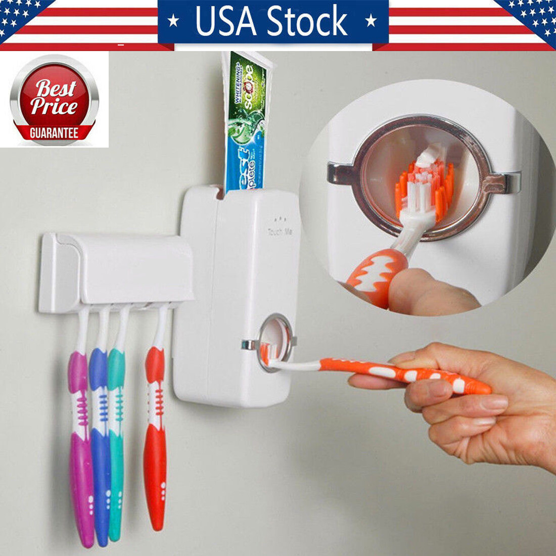 Auto Automatic Toothpaste Dispenser 5 Toothbrush Holder Set Wall Mount Stand US