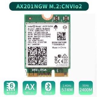 Thẻ Wifi Intel Wi-Fi 6 3000Mbps AX201 AX201NGW Băng Tần Kép 2.4Ghz 5Ghz 2.4Gbps 2400Mbps + 574Mbps M.2 Key E CNVio 2 Card Mạng Không Dây Bluetooth 5.0 802.11ac Ax thumbnail