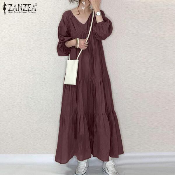 ZANZEA Đầm Maxi Dài Kaftan Abaya Xếp Tầng Tay Phồng Cổ Chữ V Cho Nữ