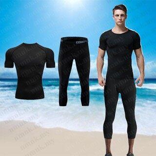 QTEL Đàn Ông Đồ Bơi Hồi Giáo Bộ Suit Áo Tắm Đồ Bơi Quần Áo Đi Biển Tay Ngắn Surfwear 3 4 Quần thumbnail