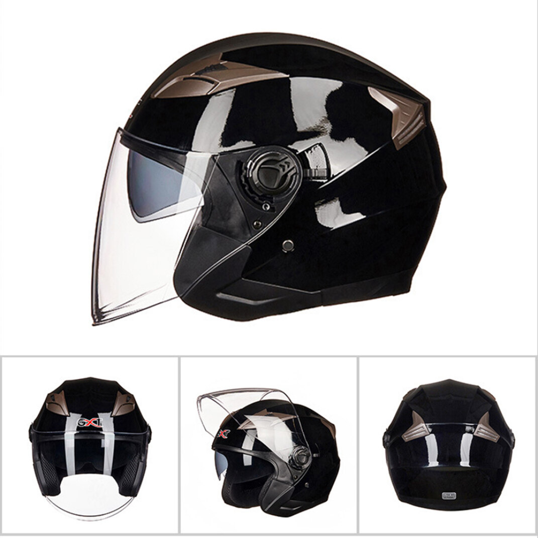 Clear+Grey Homyl 2 Pack Half Face Motorcycle Helmet Visor 3-Snap Lens Shield for Motorcycle Helmets Repair Parts
