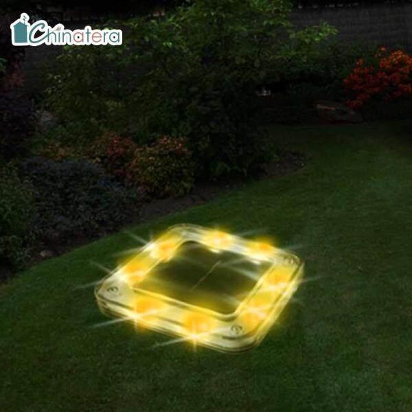 [Chinatera] 8 Đèn Led Vuông Năng Lượng Mặt Trời Đèn Mặt Đất Không Thấm Nước Sàn Đường Dẫn Trong Vườn Ngoài Trời Ngầm Chôn Đèn Chiếu Sáng An Ninh